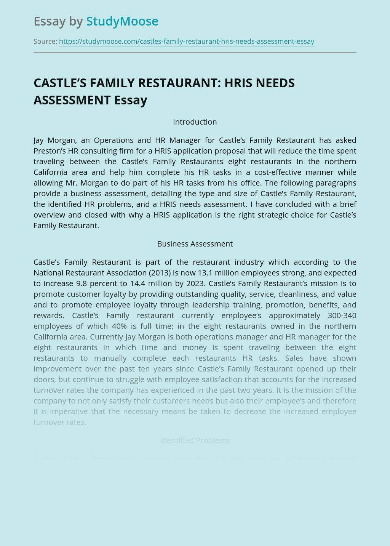 CASTLE'S FAMILY RESTAURANT: HRIS NEEDS ASSESSMENT
