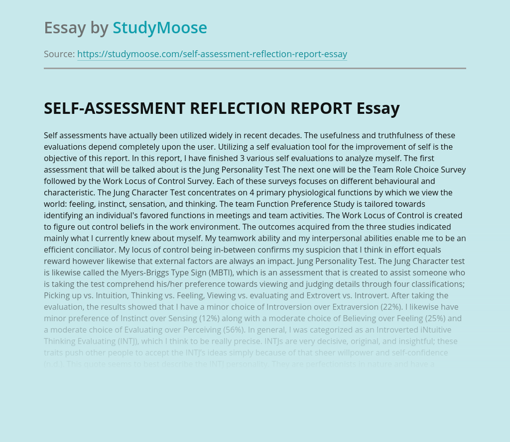 SELF-ASSESSMENT REFLECTION REPORT