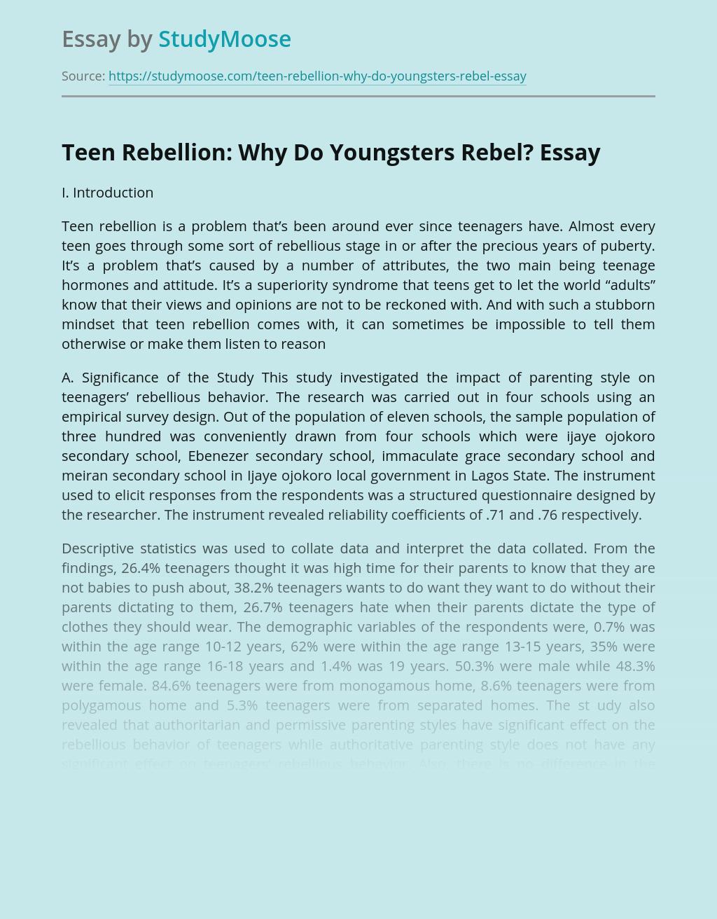 Analysis of Youngsters' Behavior and Rebellion