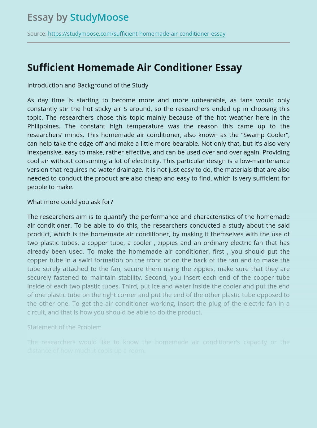 Sufficient Homemade Air Conditioner