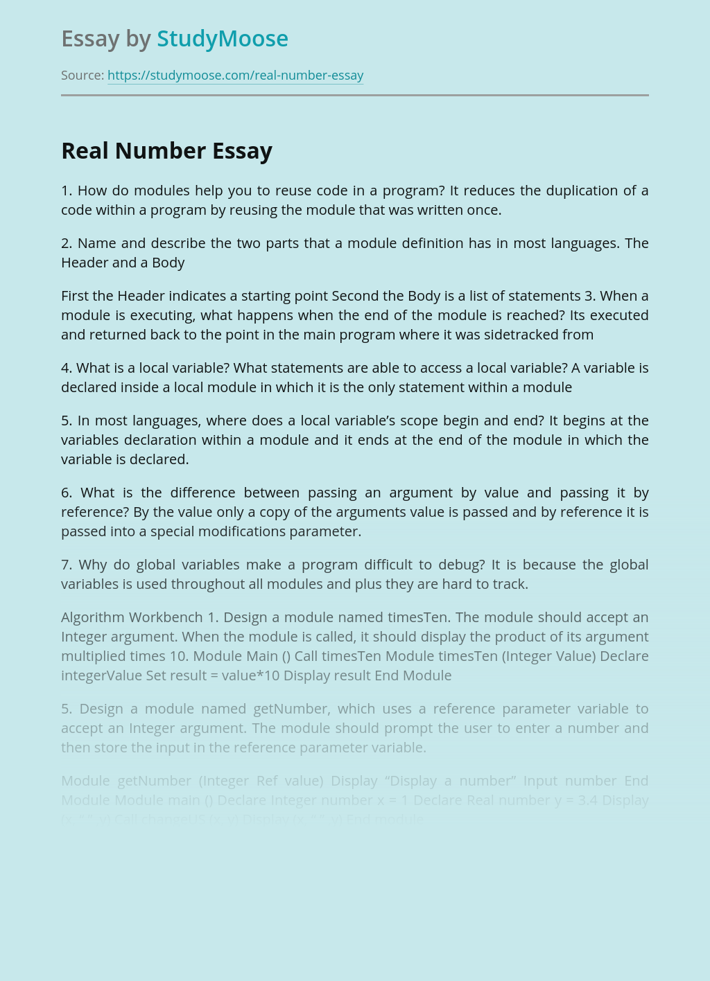 Real Number Free Essay Example
