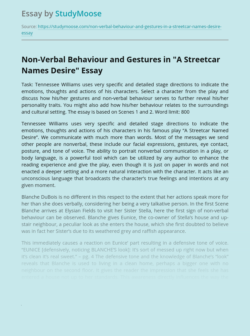 """Non-Verbal Behaviour and Gestures in """"A Streetcar Names Desire"""""""