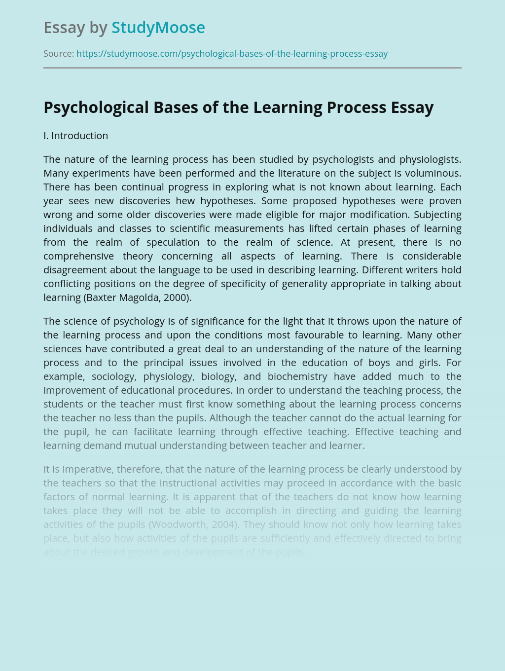 Psychological Bases of the Learning Process