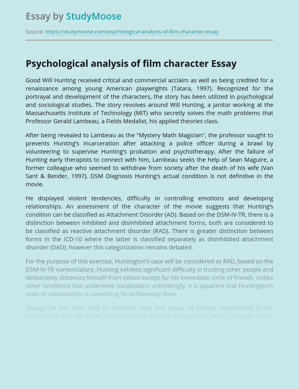 Psychological analysis of film character