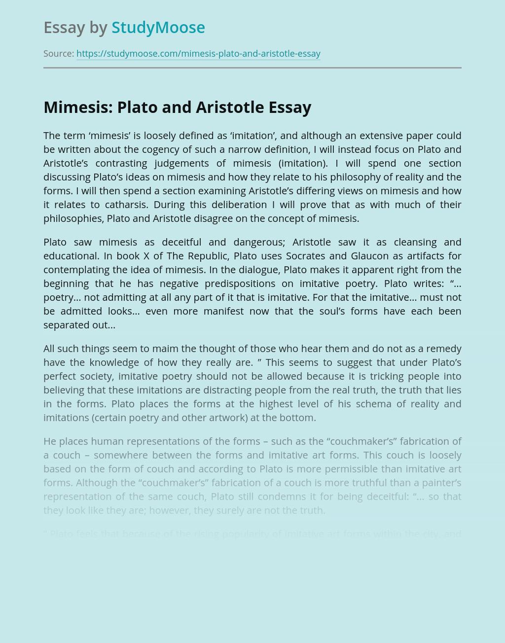 Mimesis: Plato and Aristotle