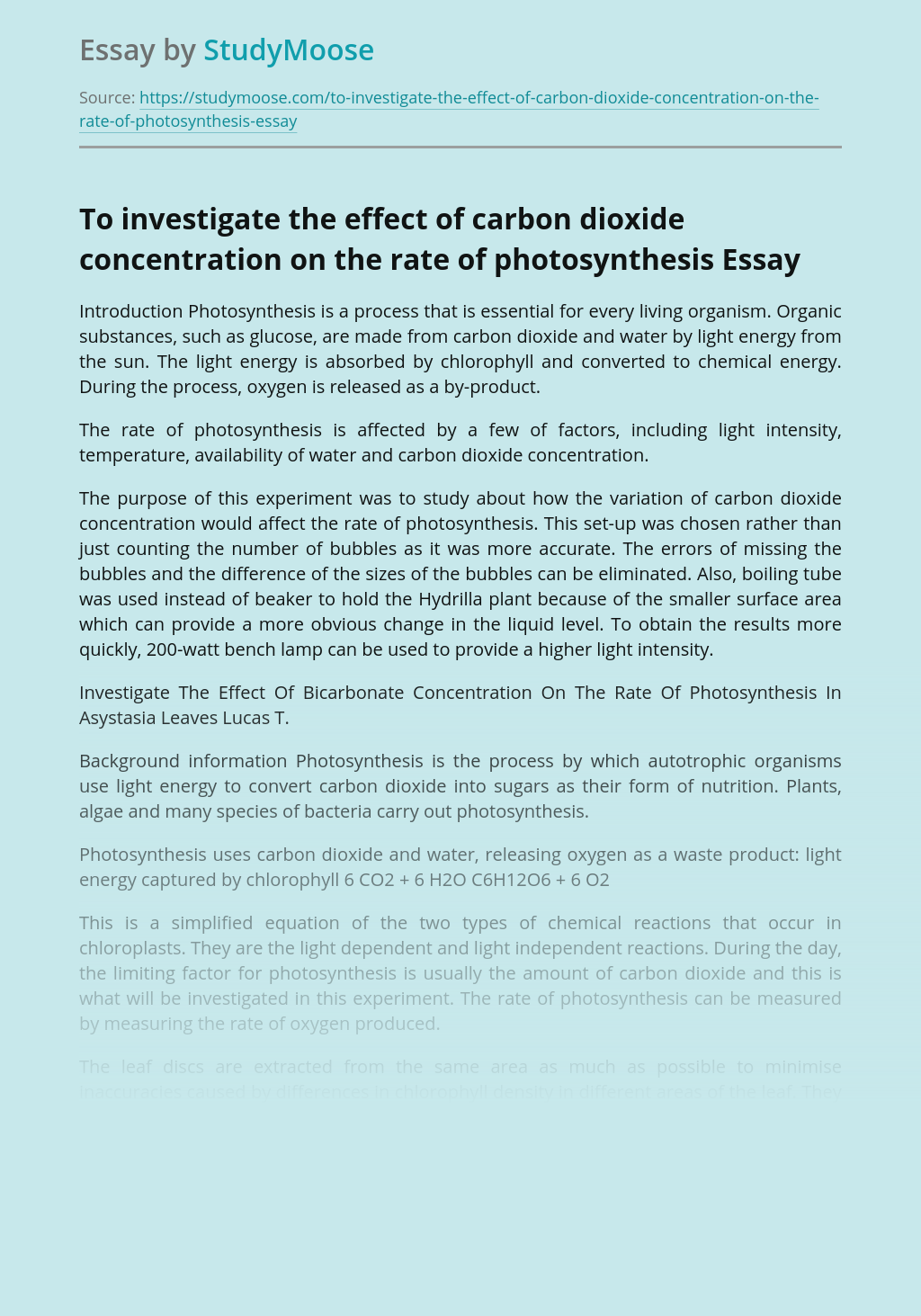 To investigate the effect of carbon dioxide concentration on the rate of photosynthesis