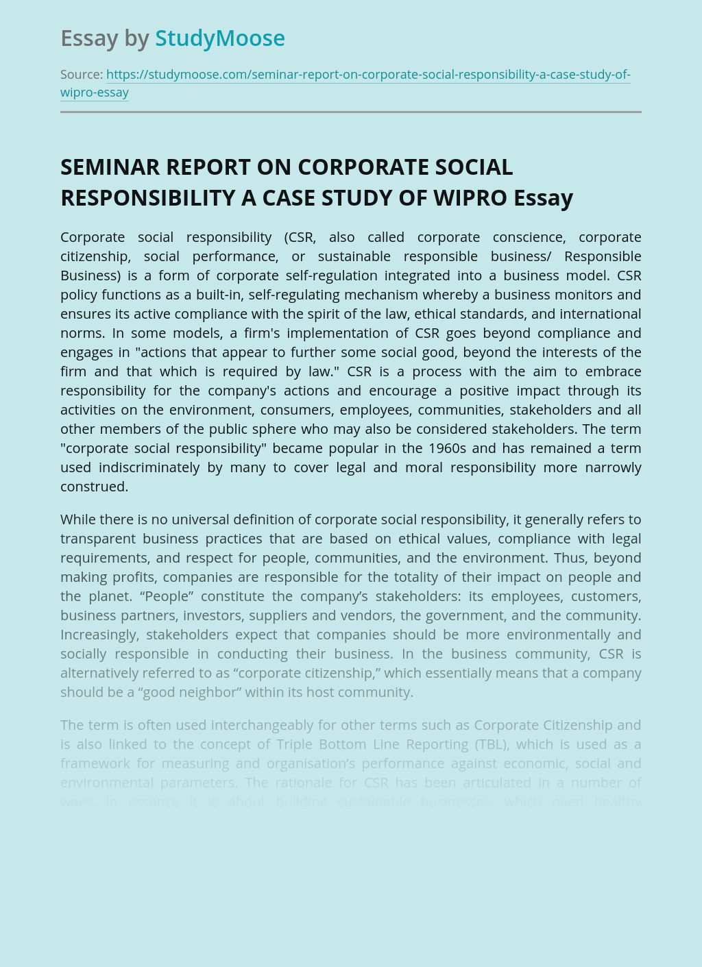 SEMINAR REPORT ON CORPORATE SOCIAL RESPONSIBILITY A CASE STUDY OF WIPRO