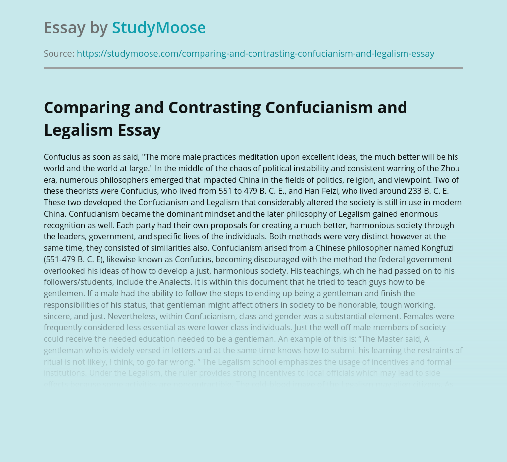 Comparing and Contrasting Confucianism and Legalism