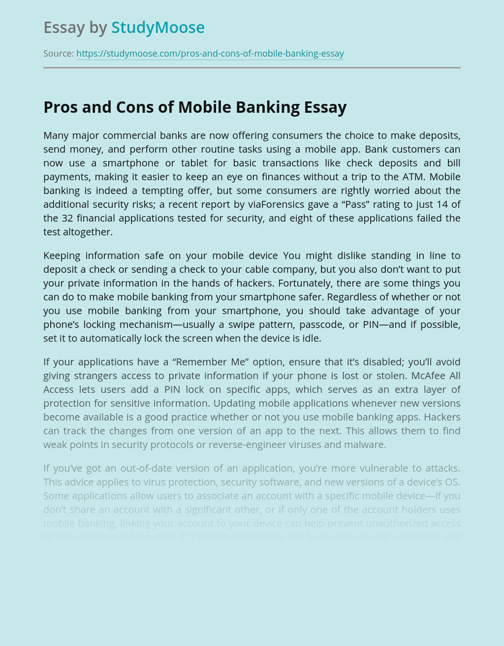 Pros and Cons of Mobile Banking