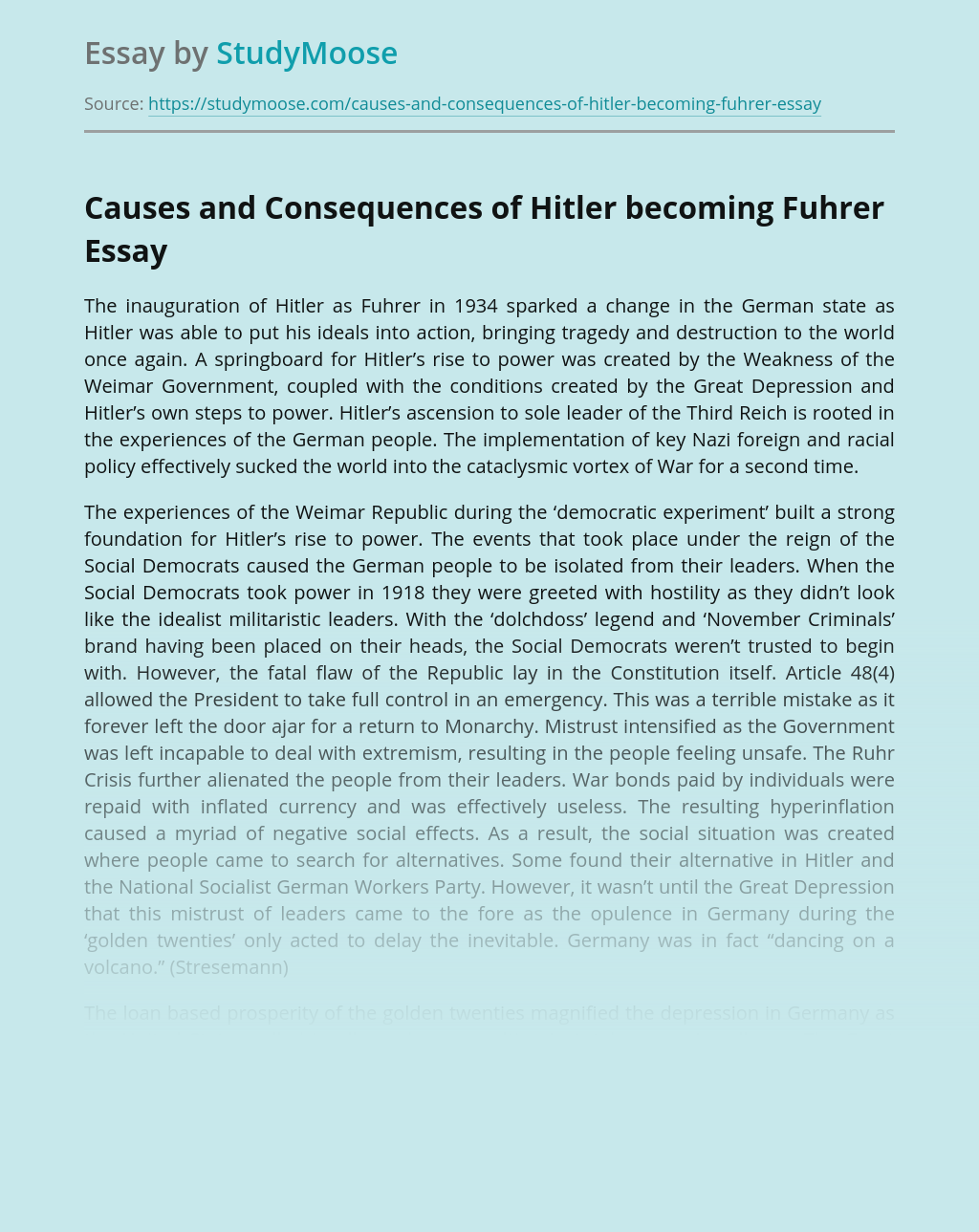 Causes and Consequences of Hitler becoming Fuhrer