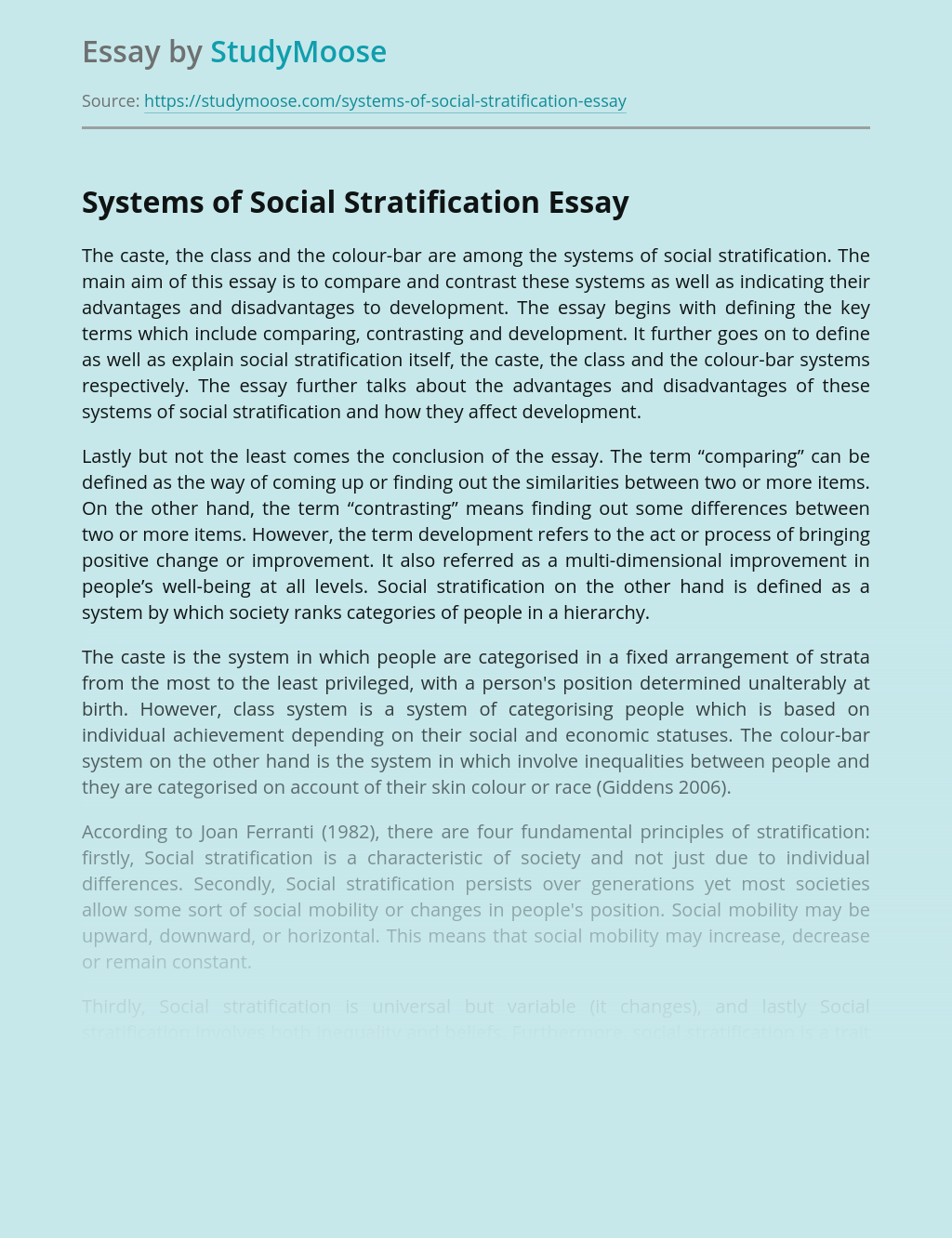 Systems of Social Stratification