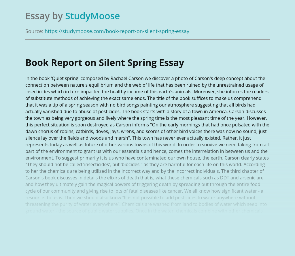 Book Report on Silent Spring