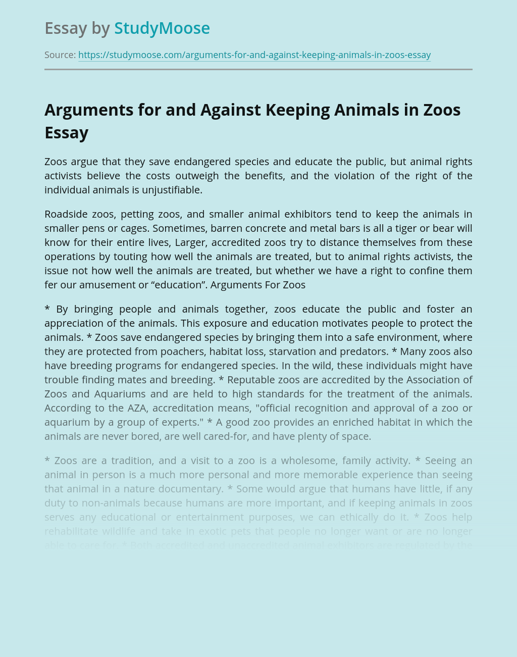 Arguments for and Against Keeping Animals in Zoos