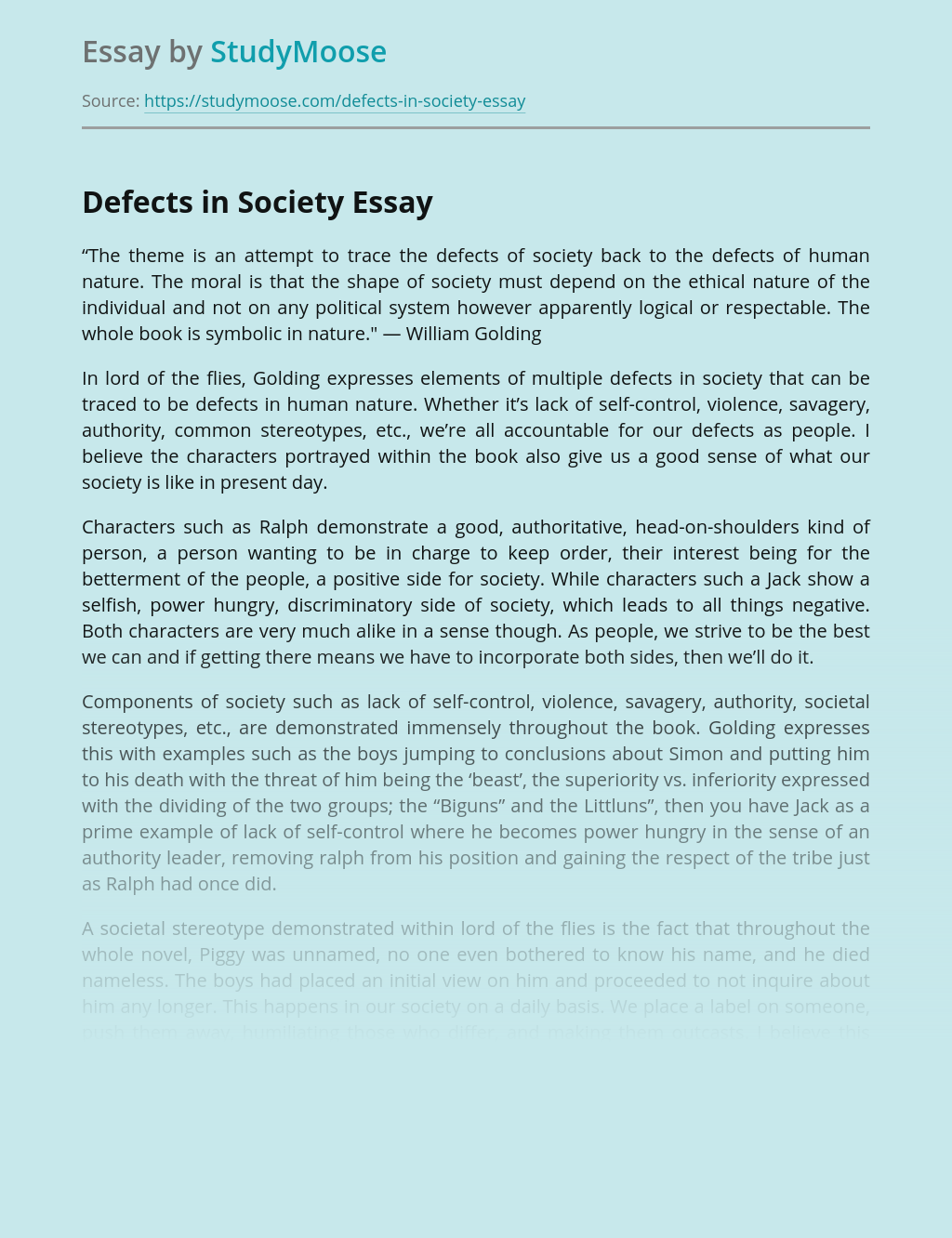 Defects in Society