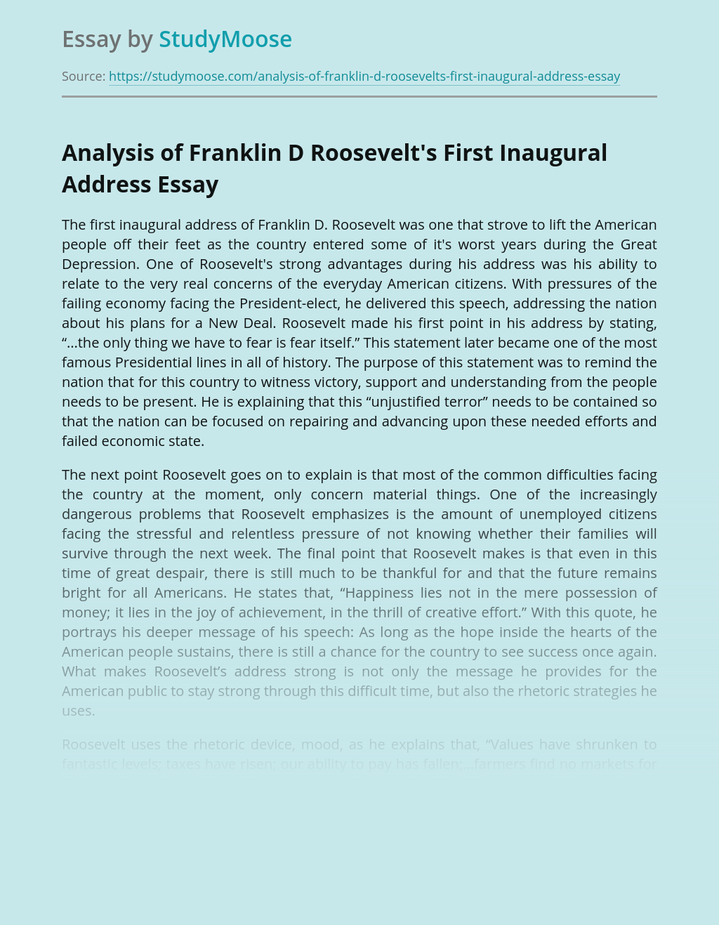 Roosevelt's First Inaugural Address During The Great Depression