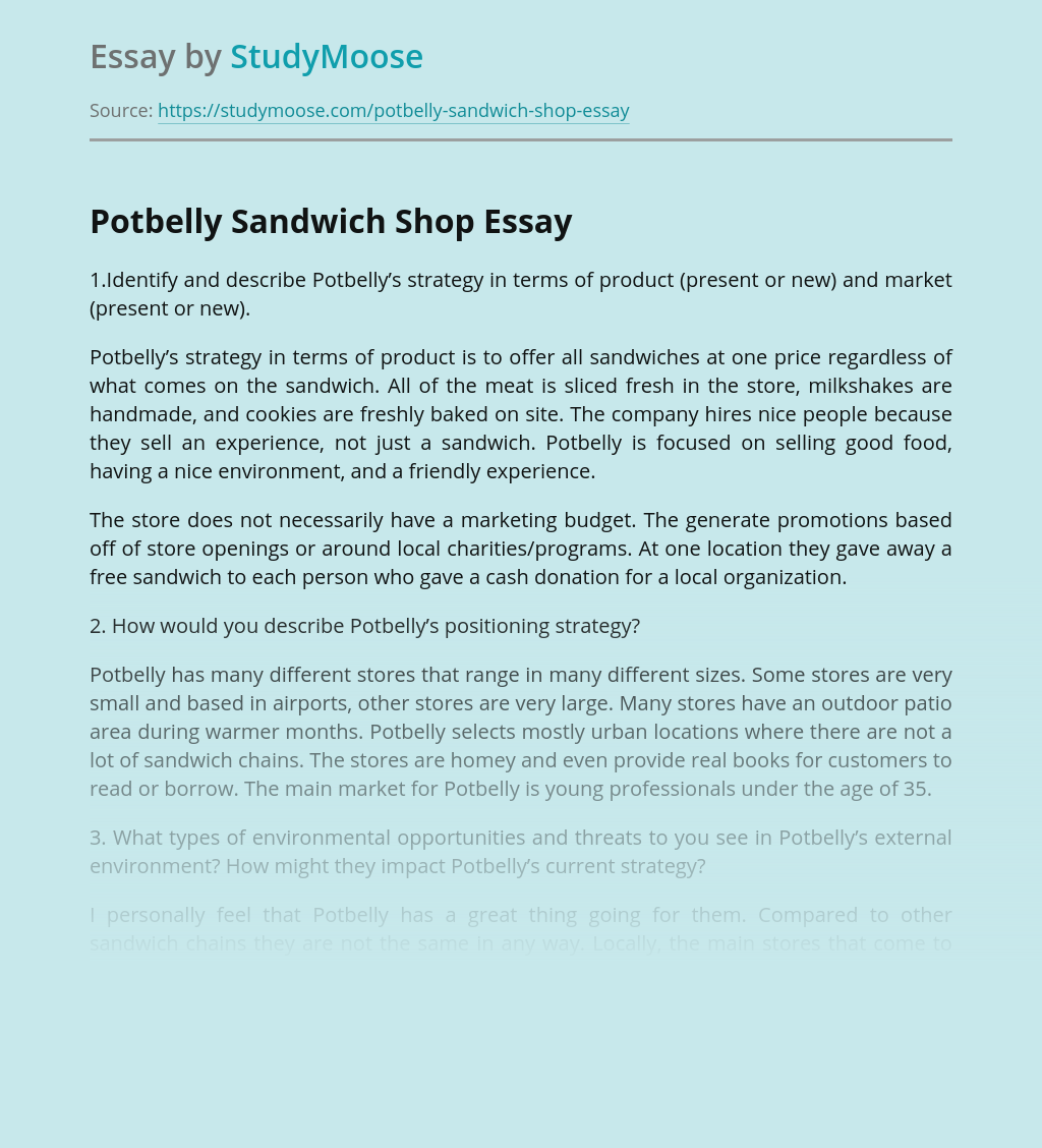 Marketing of Potbelly Sandwich Shop