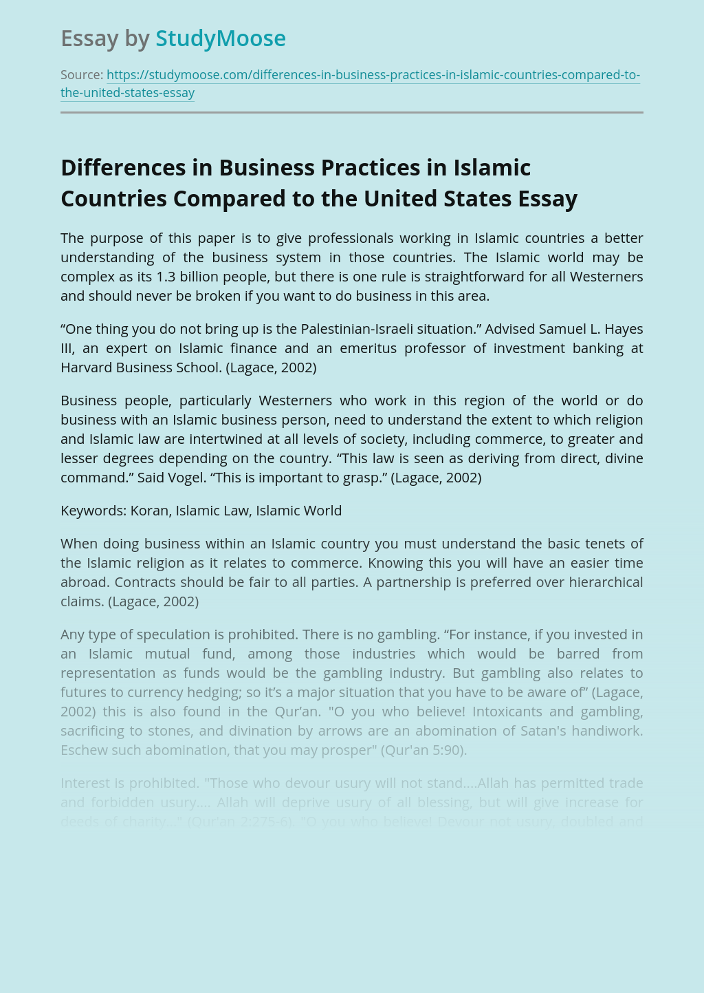 Differences in Business Practices in Islamic Countries Compared to the United States