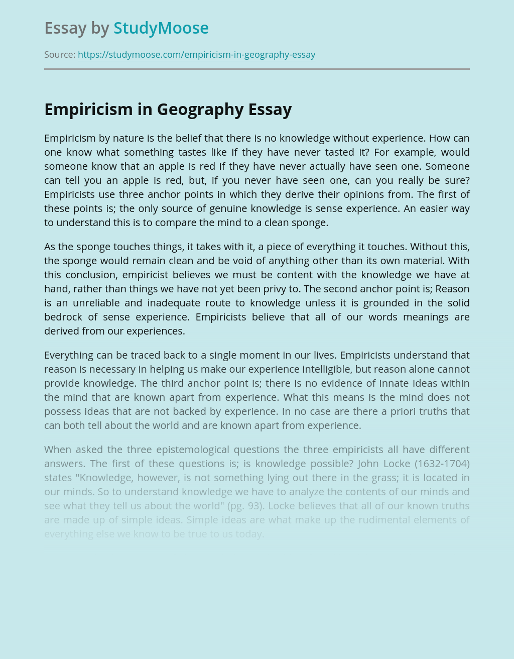 Empiricism in Geography