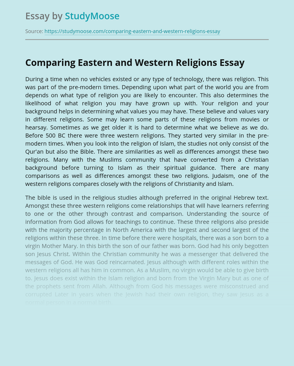 Comparing Eastern and Western Religions