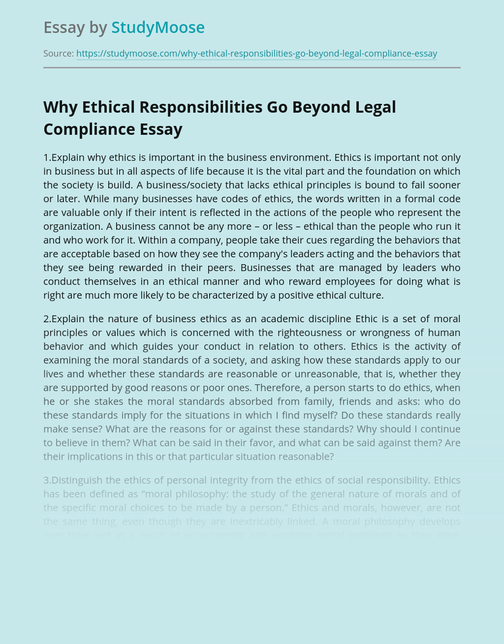 Why Ethical Responsibilities Go Beyond Legal Compliance