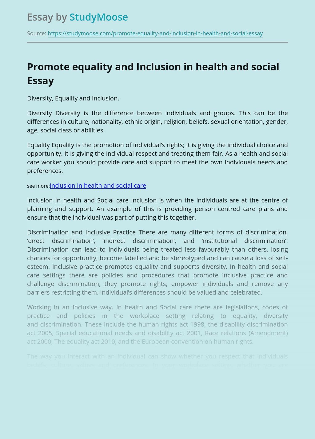 Promote equality and Inclusion in health and social