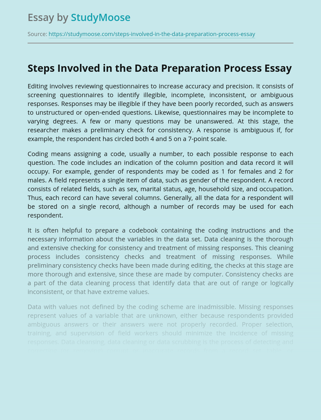 Steps Involved in the Data Preparation Process