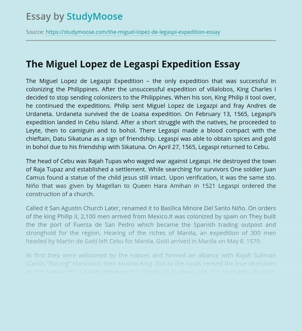 Colonization by The Miguel Lopez de Legaspi Expedition