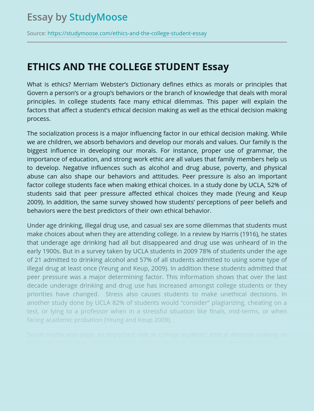 ETHICS AND THE COLLEGE STUDENT