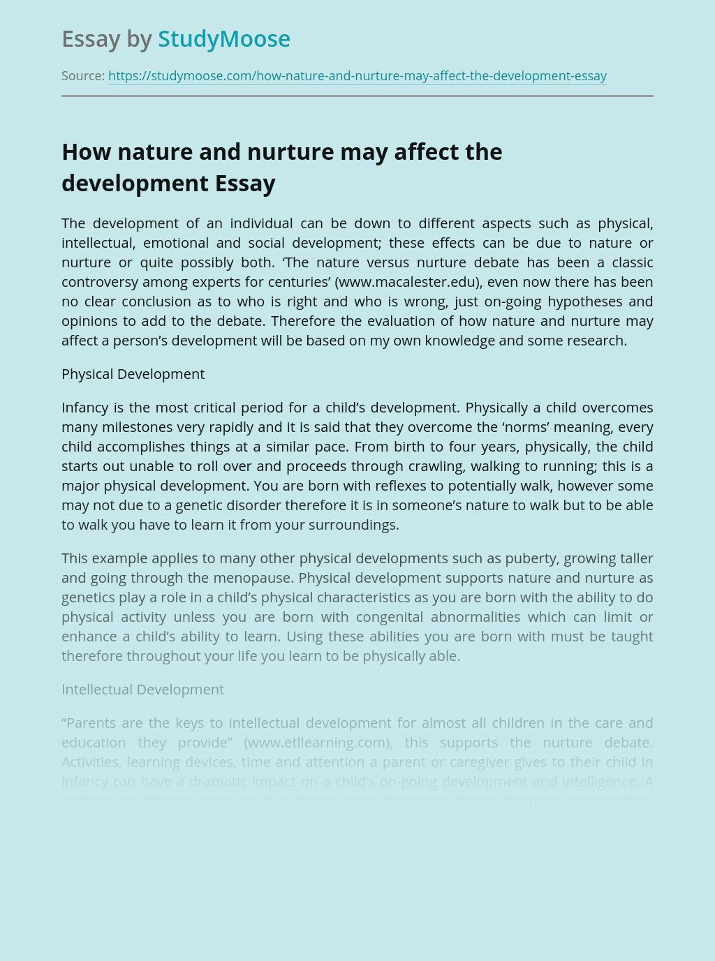 How nature and nurture may affect the development