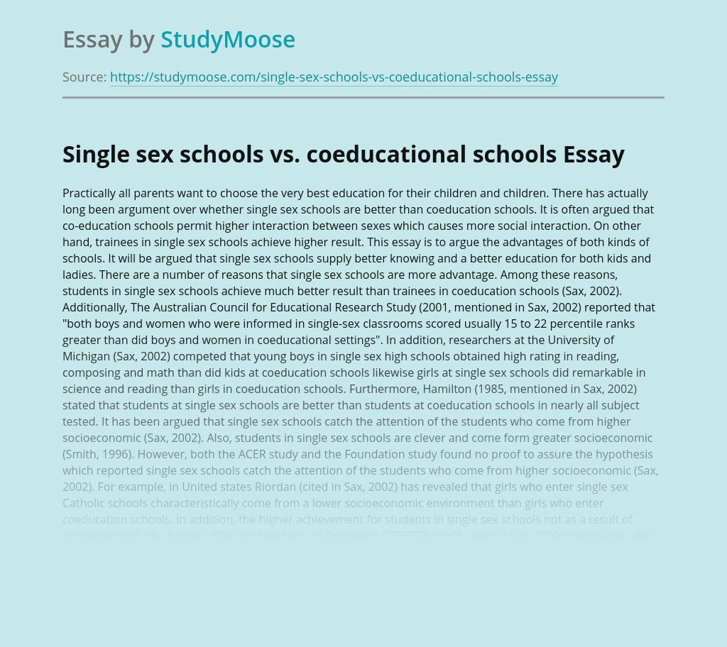 Single sex schools vs. coeducational schools