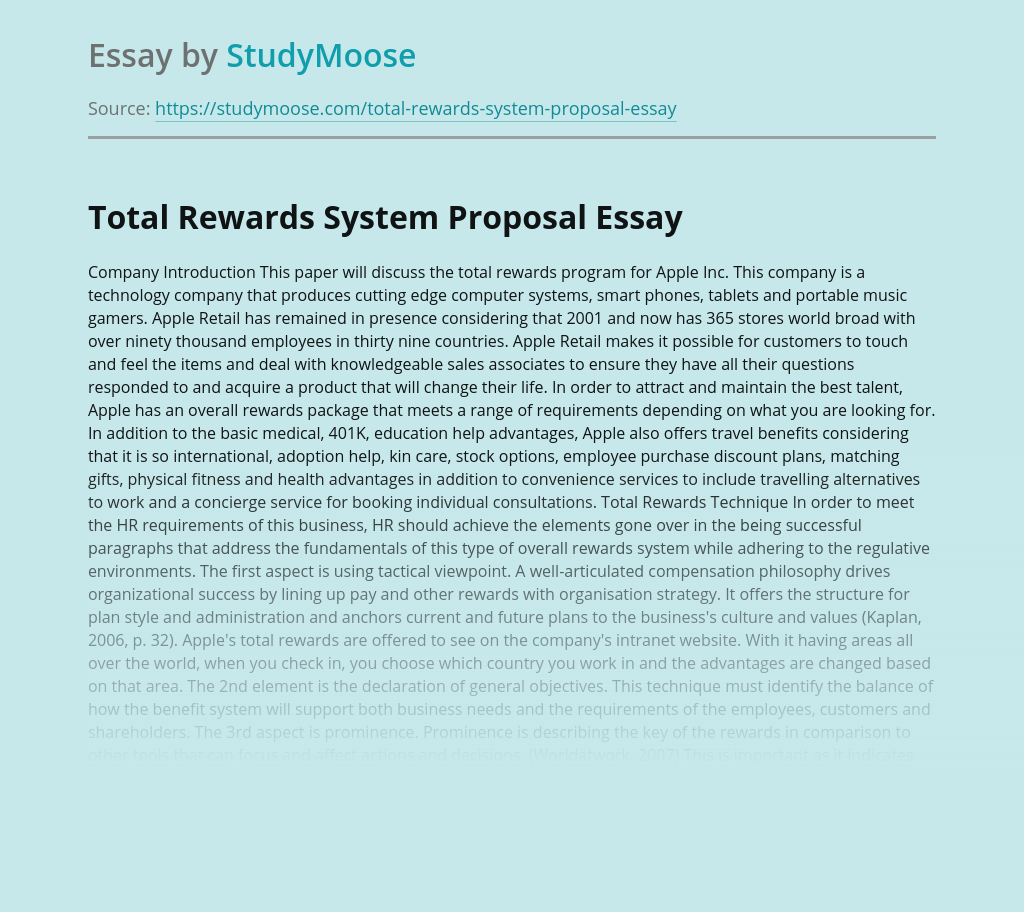Total Rewards System Proposal