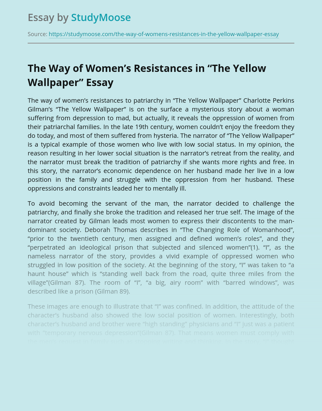 "The Way of Women's Resistances in ""The Yellow Wallpaper"""