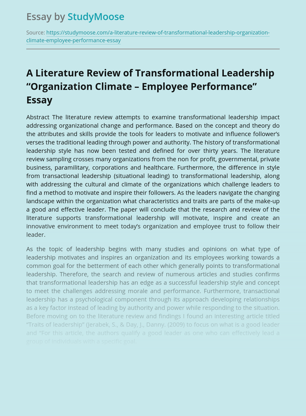 "A Literature Review of Transformational Leadership ""Organization Climate – Employee Performance"""