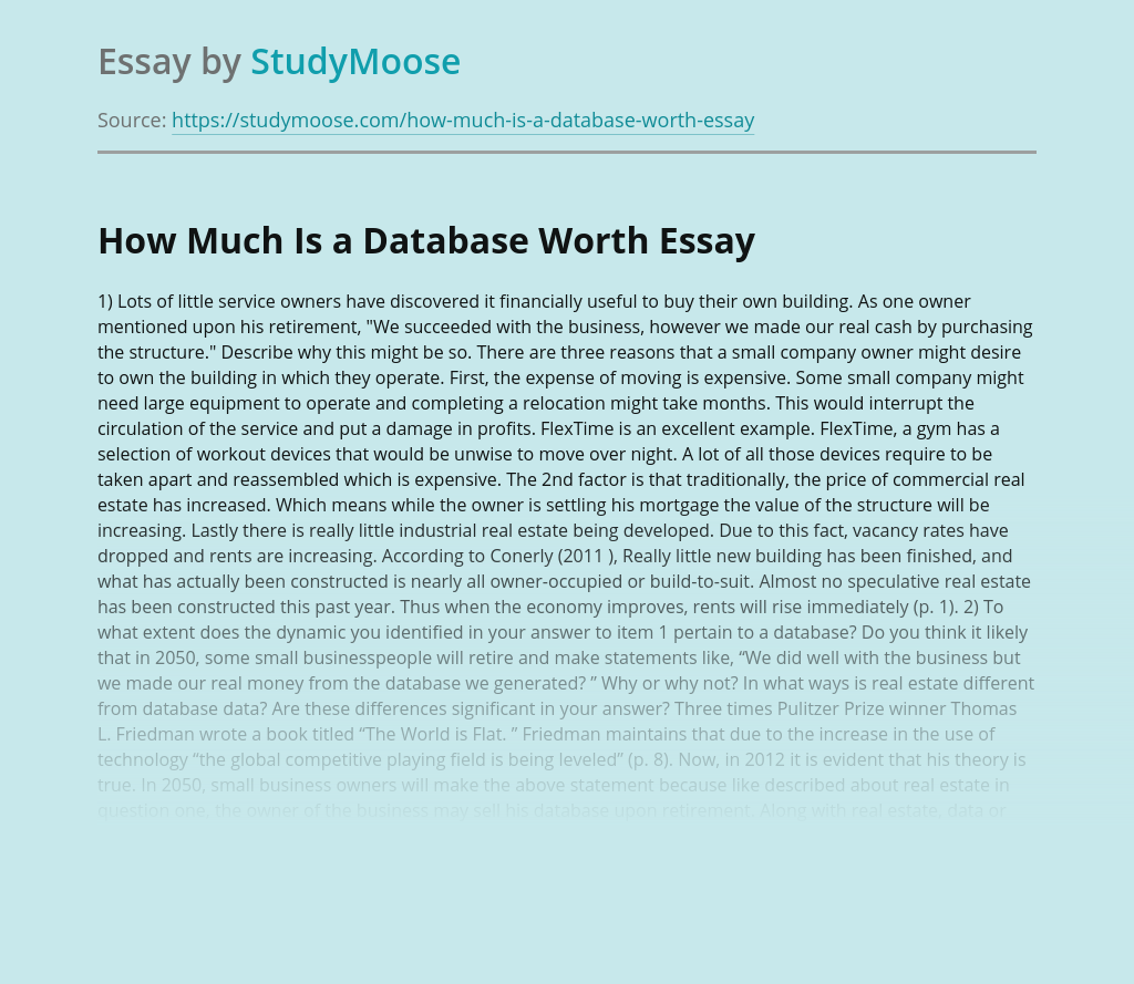How Much Is a Database Worth