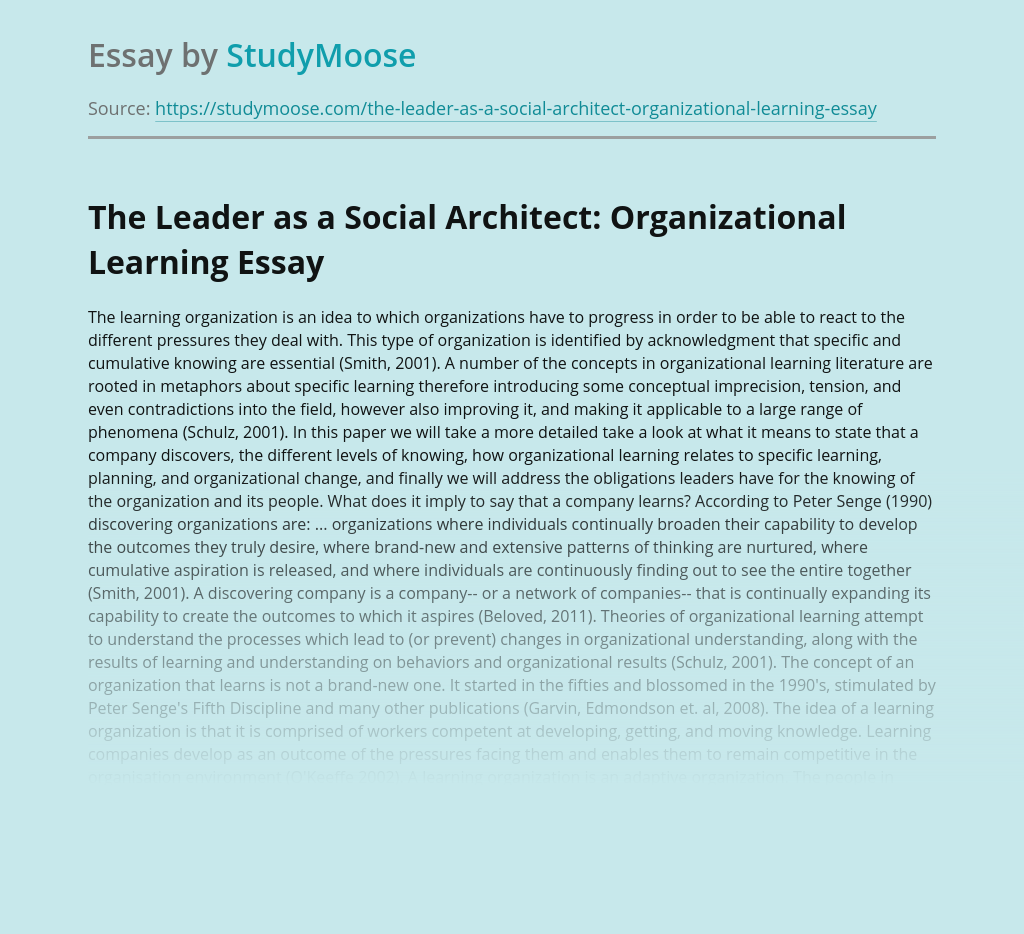 The Leader as a Social Architect: Organizational Learning