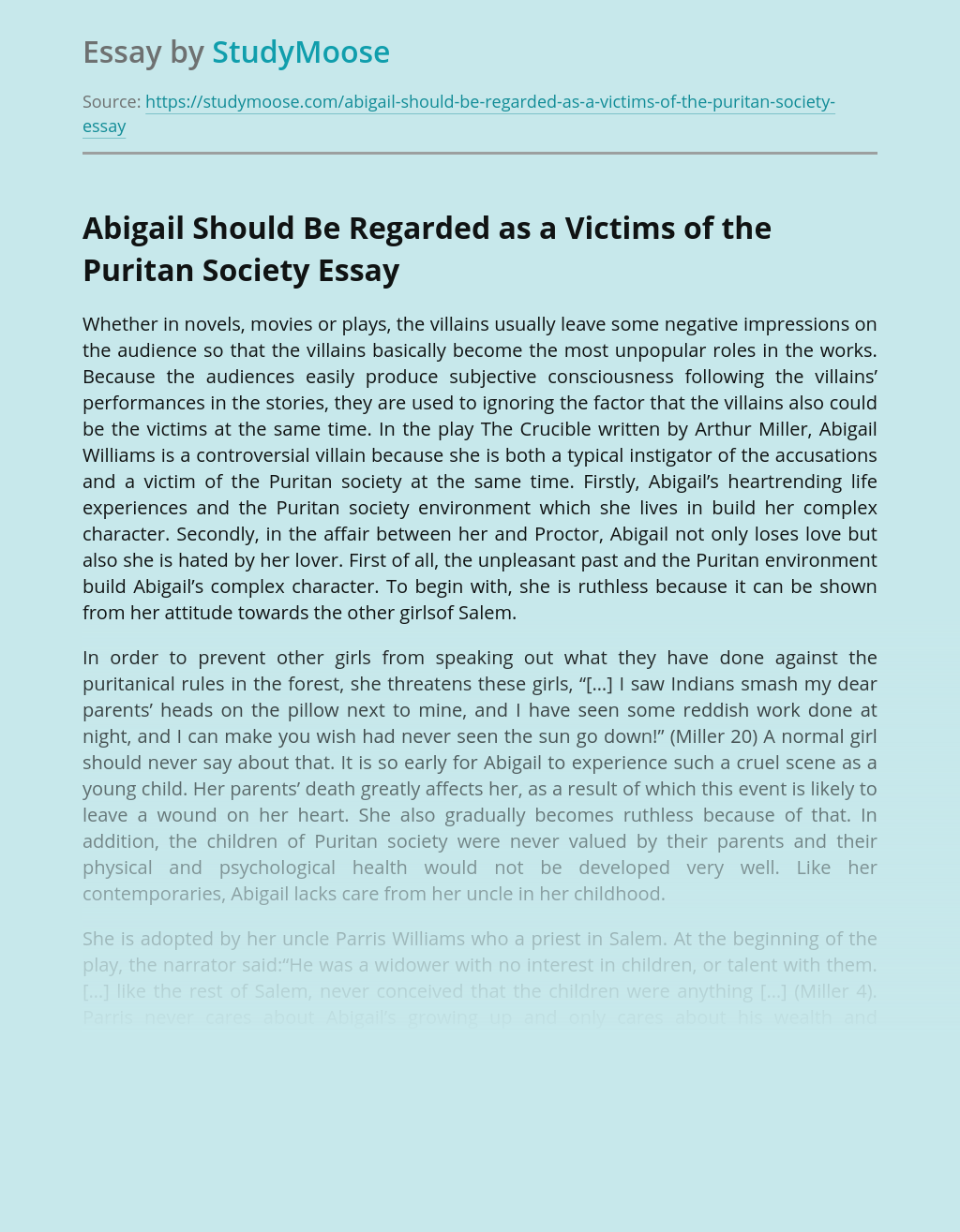 Abigail Should Be Regarded as a Victims of the Puritan Society