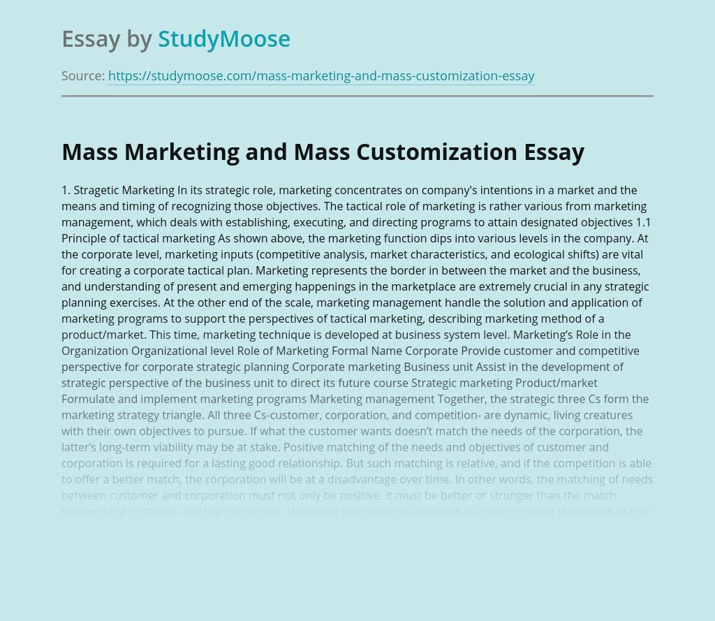Mass Marketing and Mass Customization