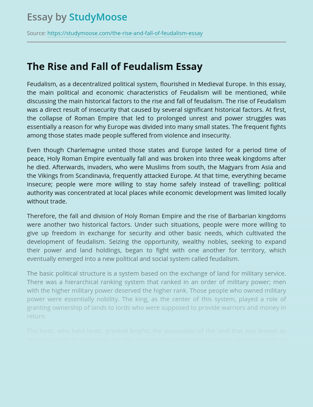 The Rise and Fall of Feudalism