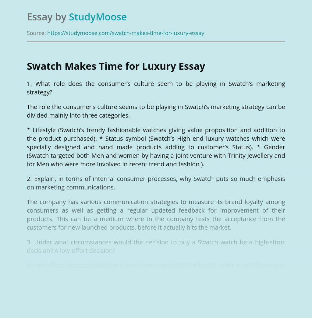 Swatch Makes Time for Luxury
