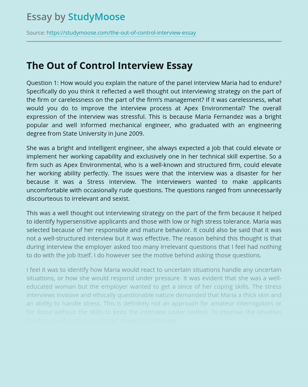 The Out of Control Interview