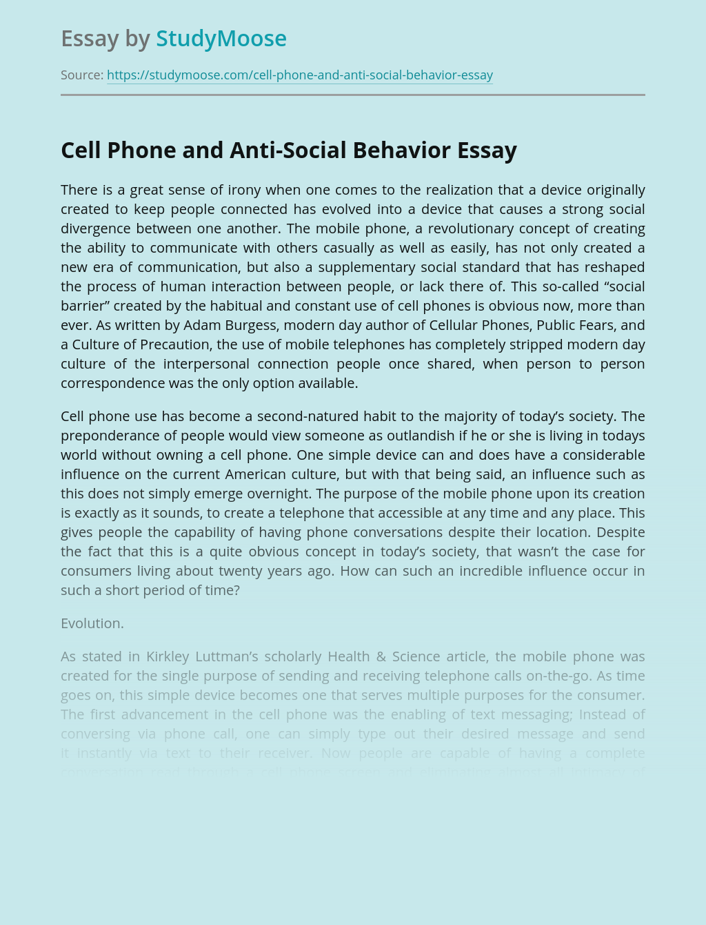 Cell Phone and Anti-Social Behavior
