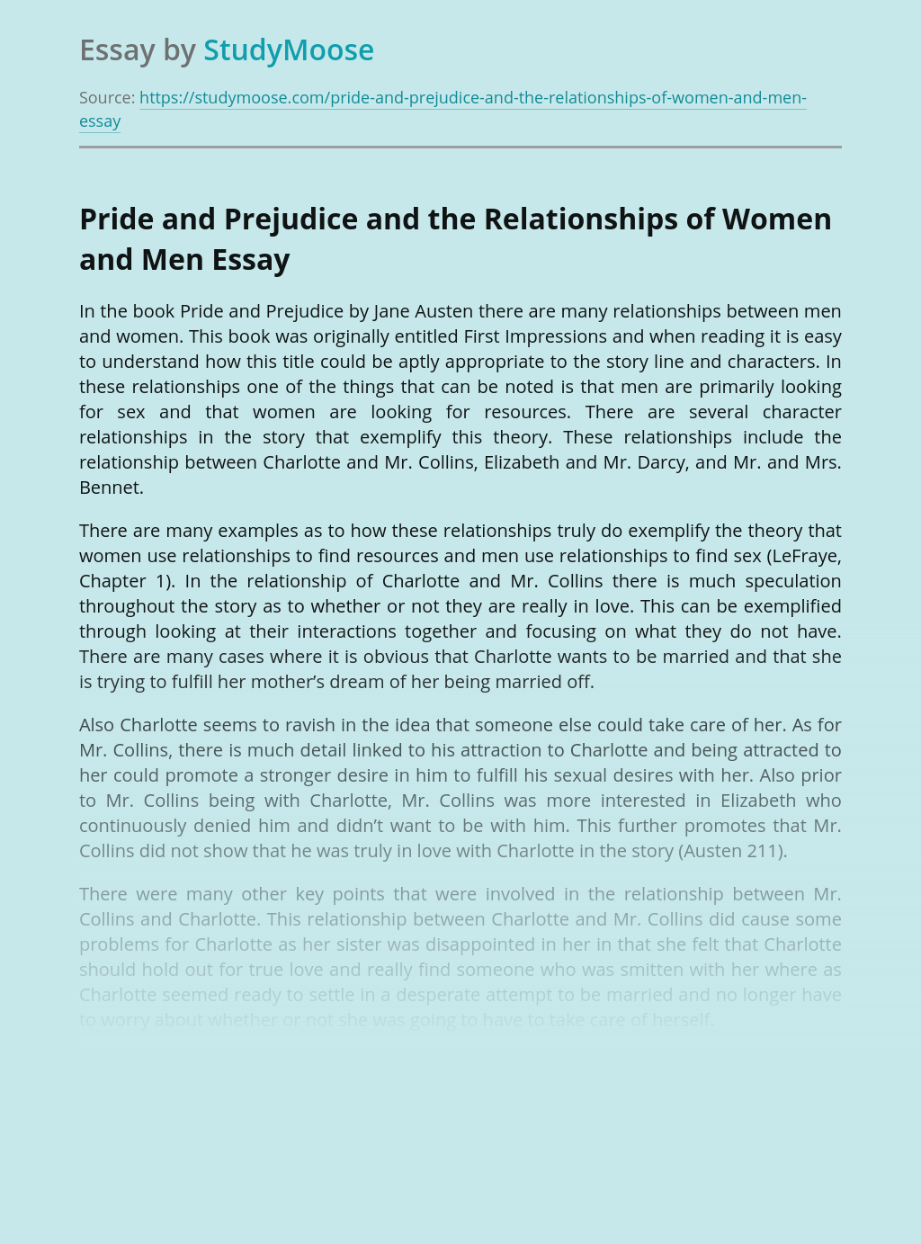 Pride and Prejudice and the Relationships of Women and Men