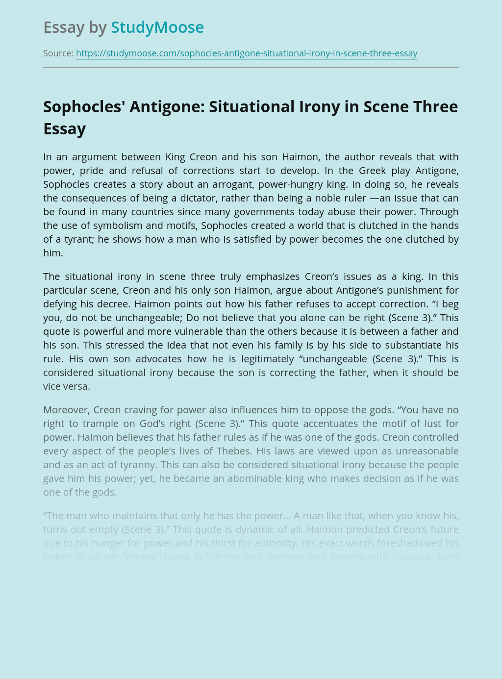 Sophocles' Antigone: Situational Irony in Scene Three