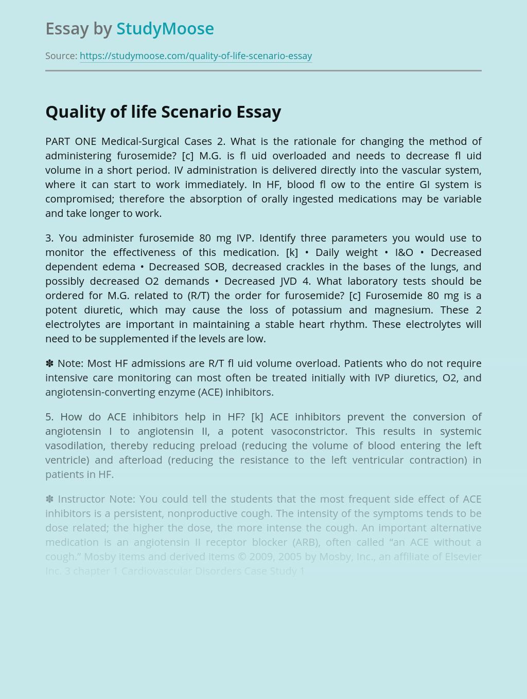 Quality of life Scenario