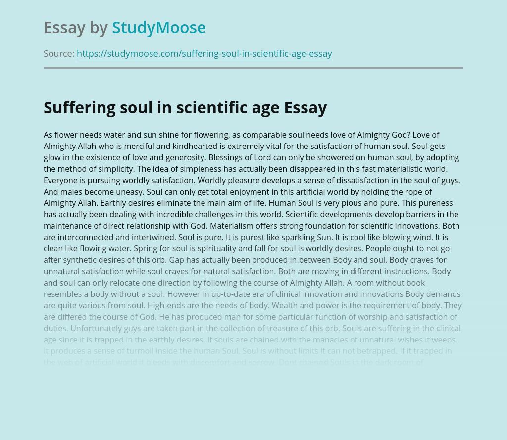 Suffering soul in scientific age