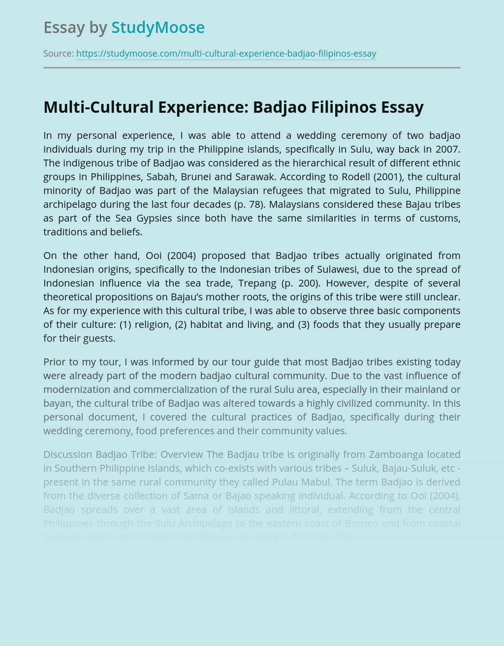 Multi-Cultural Experience: Badjao Filipinos