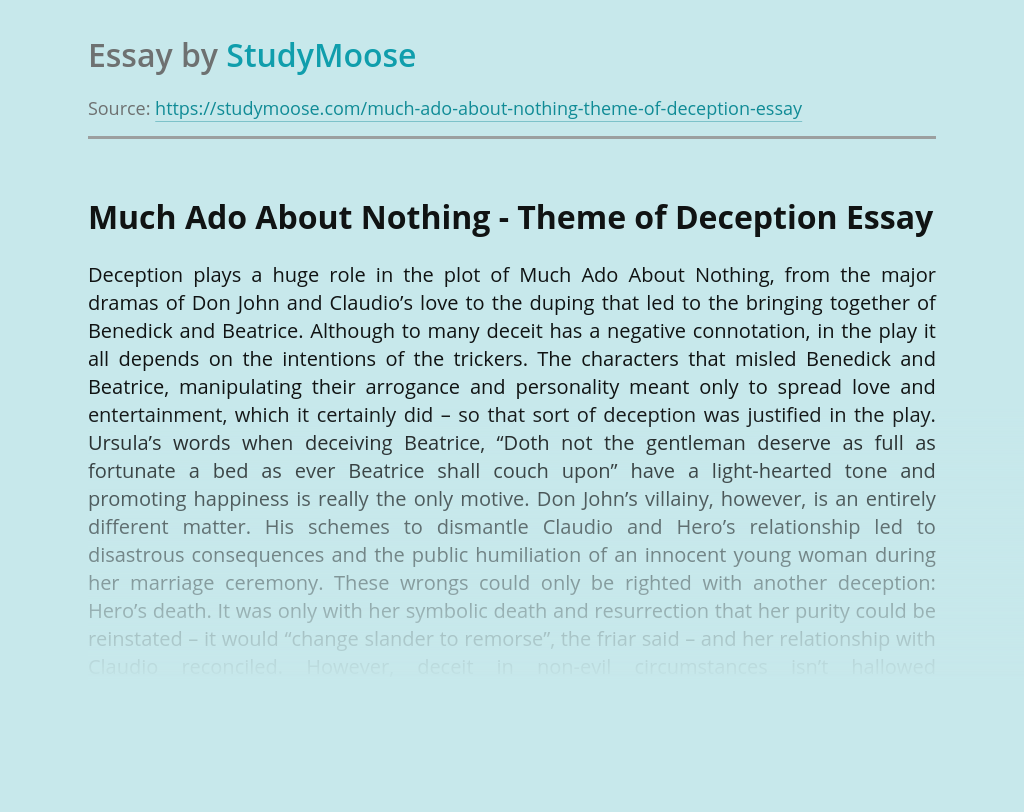 Much Ado About Nothing - Theme of Deception