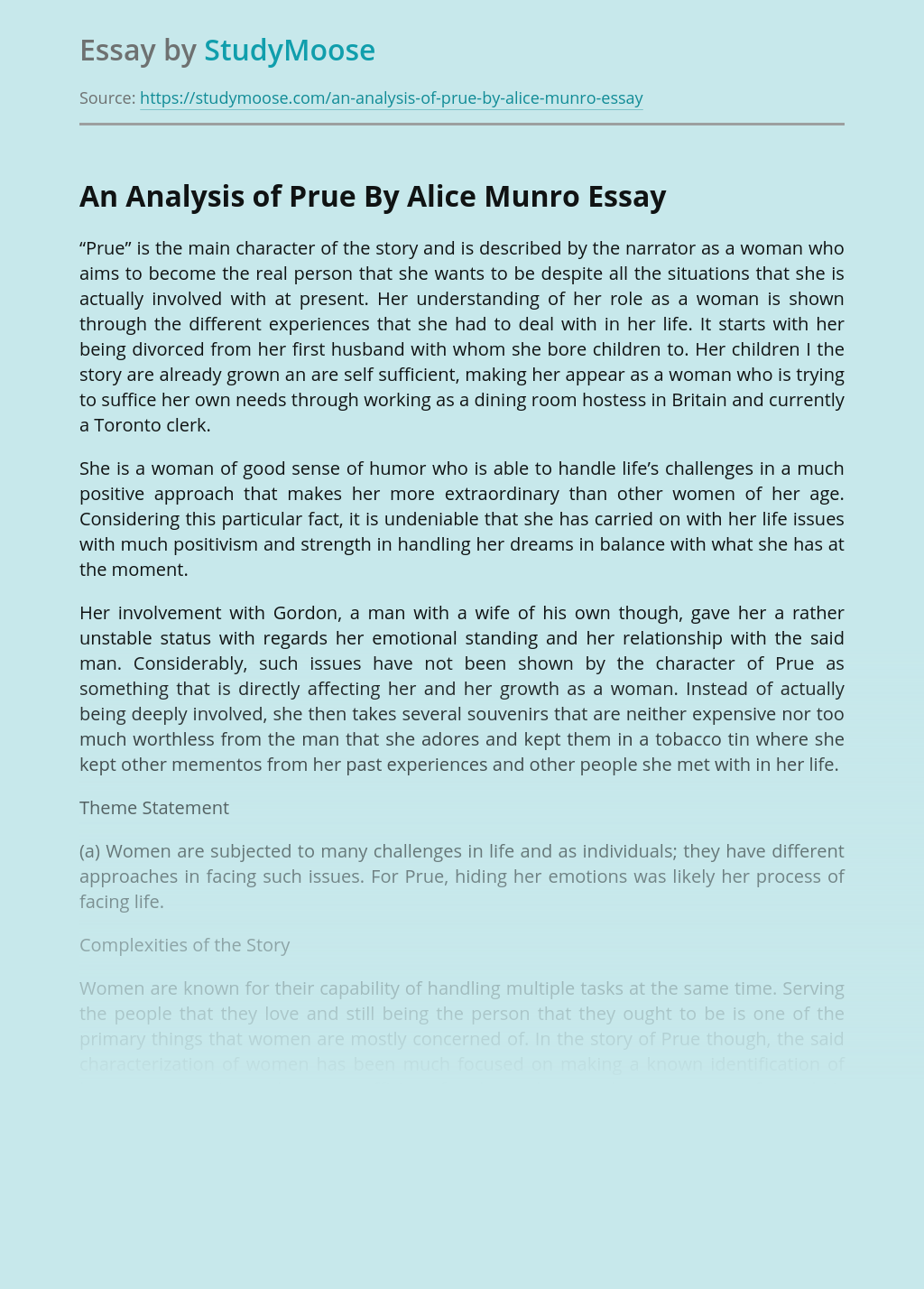 Positive Thinking in Prue By Alice Munro