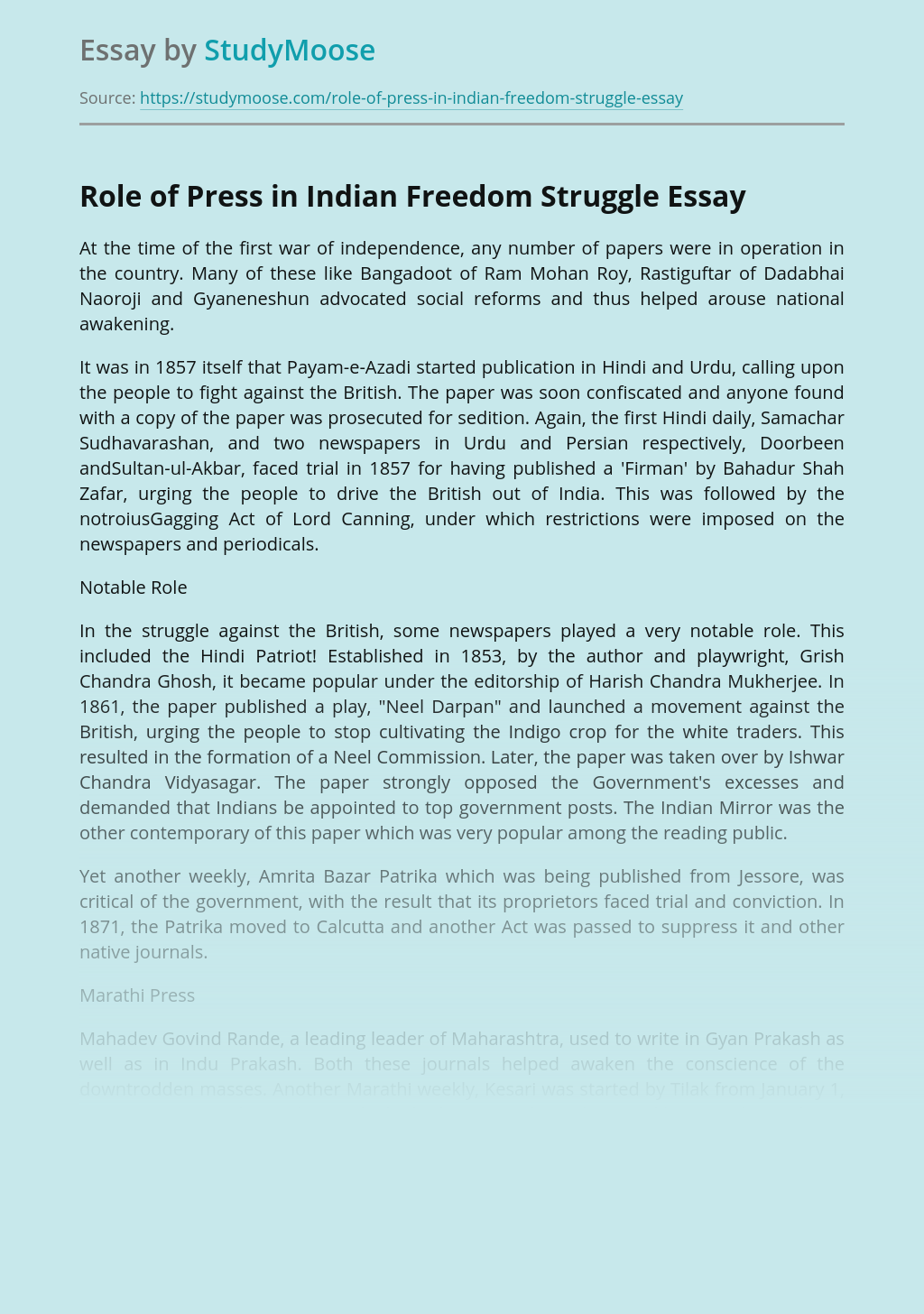 Role of Press in Indian Freedom Struggle