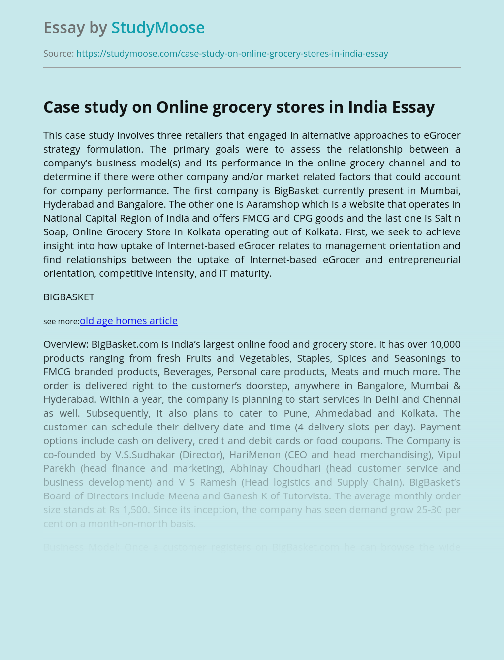 Case study on Online grocery stores in India